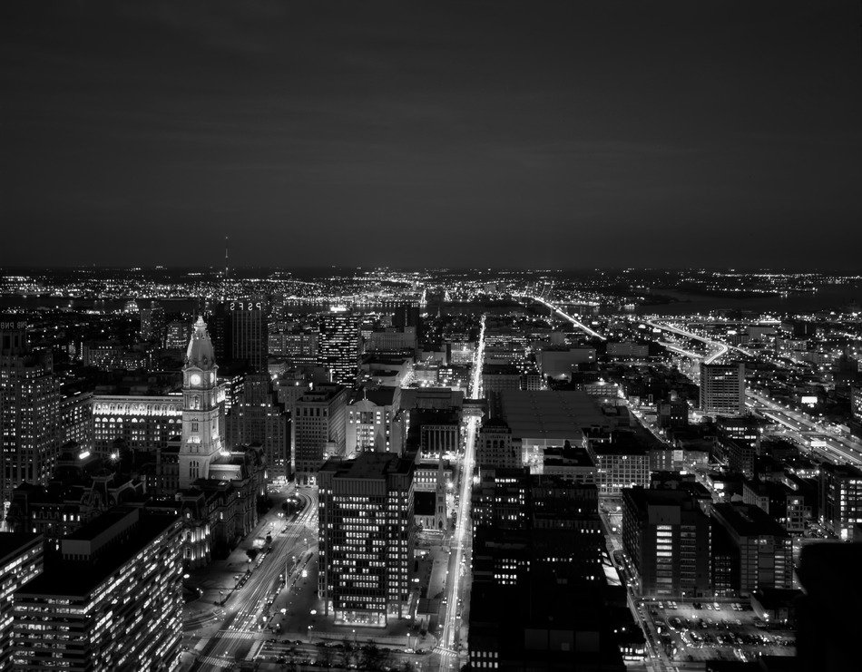 panoramic view of night philadelphia in black and white background