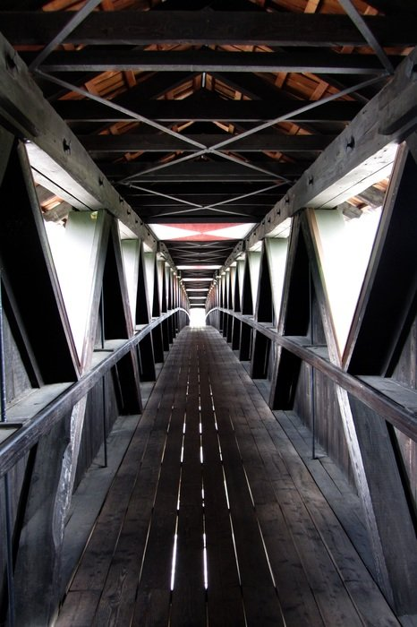 wooden covered bridge, perspective