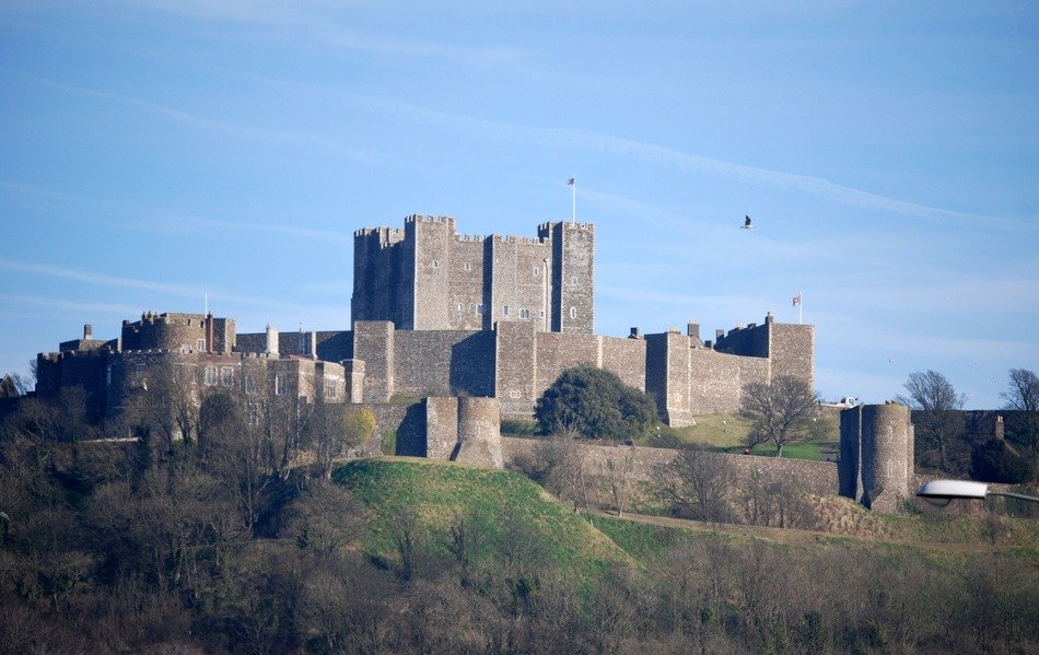 medieval dover castle on hill, uk, england