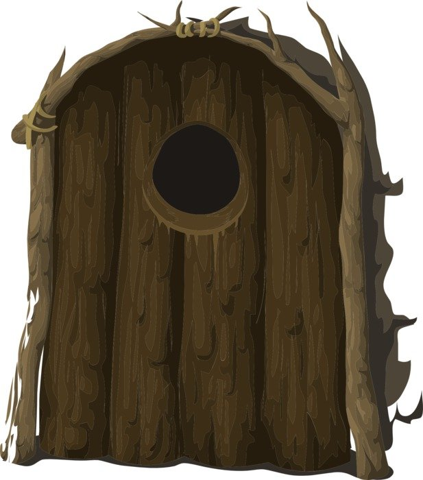 rustic wooden entrance door with round hole, illustration