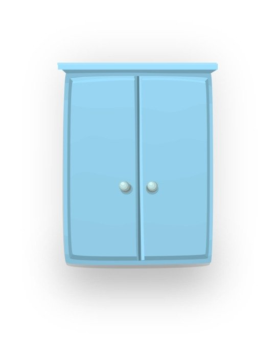 closed blue cupboard, illustration