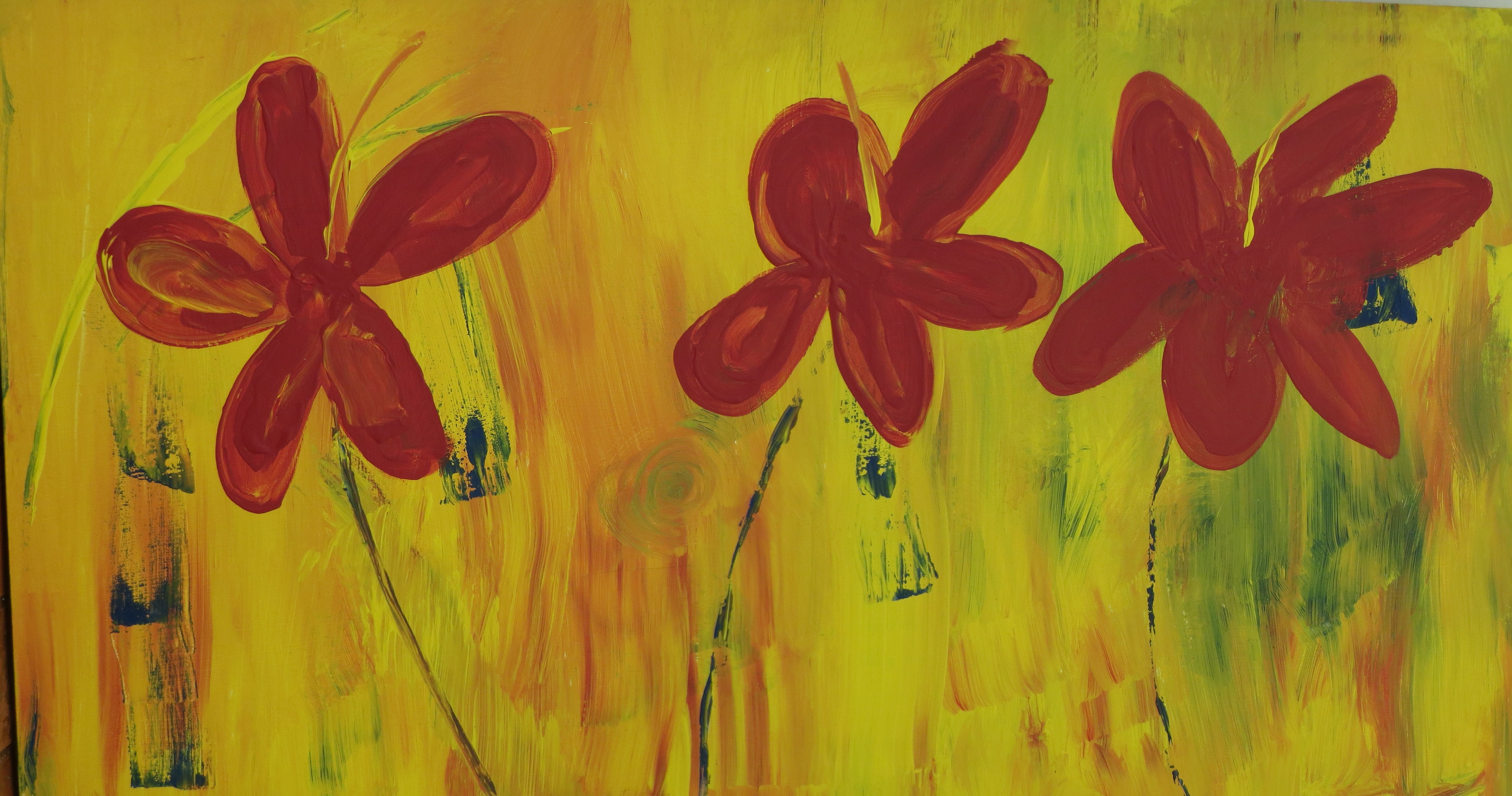 Red Flowers Acrylic Painting On Wall Free Image