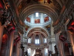 ornate ceiling of baroque cathedral, austria, salzburg