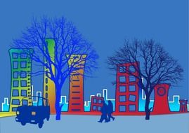 city trees in winter view animated