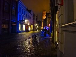 colorful night illumination in old town, belgium, bruges