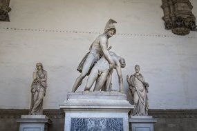 Menelaus supporting the body of Patroclus, marble statue in the Loggia dei Lanzi, Italy, Florence