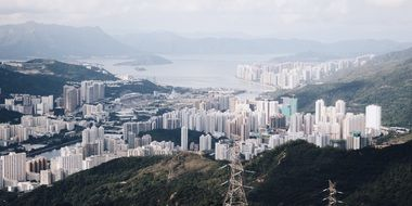 beautiful modern city on coast at mountains, china, Hong Kong, Sha Tin