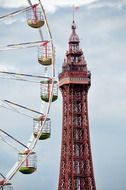 blackpool tower and ferris wheel at clouds, uk, England, Lancashire