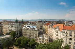 roof view of old city at summer, austria, vienna
