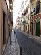 narrow street portugal lisbon architecture