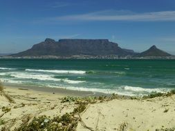table mountain at sea, south africa, cape town