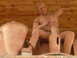 potter, clay statue of craftsman at work, turkey