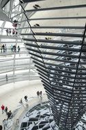 mirrors in dome of reichstag building, germany, berlin