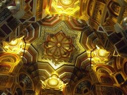 ornate ceiling of Arab Room in cardiff castle, uk, wales