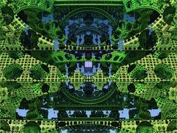 abstract city, creen and blue fractal