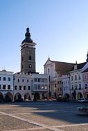 black tower in old city, czech, budejovice