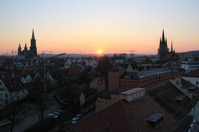 ulm sunset munster city view