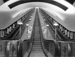 free escalator of underground station, perspective, united kingdom, england, london