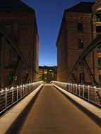 free bridge at night, germany, hamburg, speicherstadt