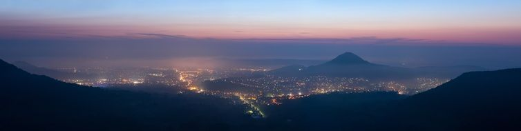 Night city lights Mountain Panorama