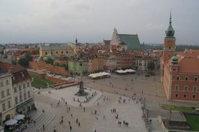 top view of market place and castle in old town, poland, warsaw