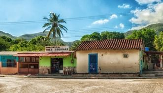 a island colorful stores at tropics, Venezuela, margarit