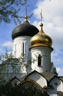 black and golden domes of orthodox cathedral at sky, russia