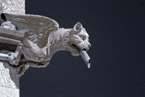stone carved winged beast, gargoyle