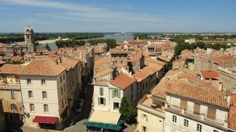 red tile roofs of old city buildings, france, arles