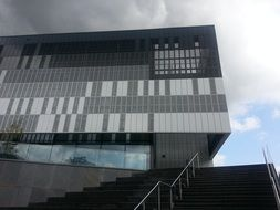 fragment of facade at clouds, germany, kleve, Rhine-Waal University of Applied Sciences