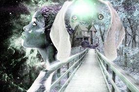 woman and dog faces at bridge, fantasy collage