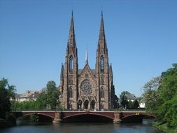 gothic Church of St. Paul at river, France, Strasbourg