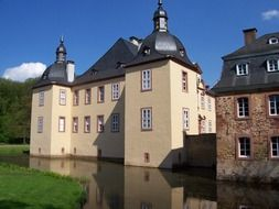 Medieval Satzvey castle at moat, Germany, North Rhine-Westphalia, Mechernich