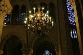 gothic ceiling light of Notre-Dame cathedral, france, paris