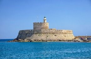 fort of saint nicolas on the end of Mandraki Harbor, greece, rhodes