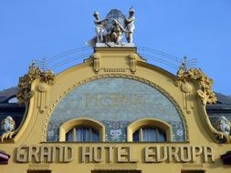 grand hotel europe, lettering on top of building, czech, prague