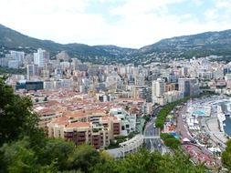 Top view of monaco in the background of a picturesque landscape