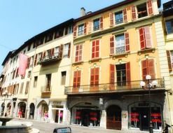 shops in old picturesque buildings, france, chambery