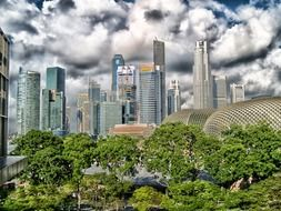 skyline of city with skyscrapers at clouds, singapore