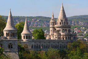 fishermen's bastion in cityscape, hungary, budapest