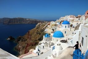 beautifull vew santorini sea greece white homes blue sky water