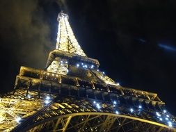 low angle view of eiffel tower at night sky, france, paris
