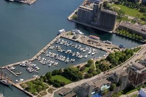 aerial view of harbour, canada,ontario, toronto