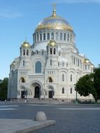 orthodox kronshtadt cathedral at summer, russia, st petersburg