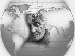 old woman face on earth globe, collage