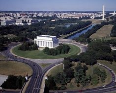 aerial view of National Mall landscaped park, usa, washington dc