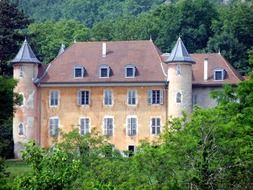chateau de bornessand, medieval castle at summer forest, france