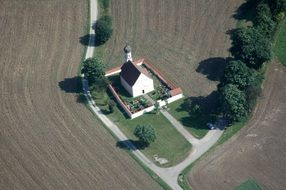 aerial view of the chapel in the arable field