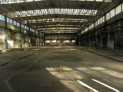 industrial hall of abandoned factory