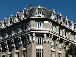 top of modern style building with roof windows, france, paris